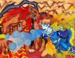 Bartz as Kirby: BATTLE FIRE WITH ICE!! by LadyJuxtaposition
