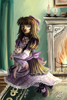 By the fireplace by iKiska