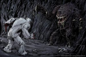 Rancor vs. Wampa color by DJLogan