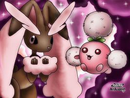 Shiny Lopunny and Shiny Jumpluff by 29steph5