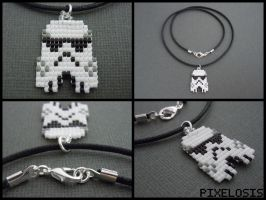 Handmade Seed Bead Stormtrooper Necklace by Pixelosis