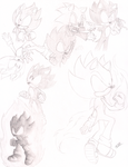 Dark Super Sonic Sketches by MeetJohnDoe