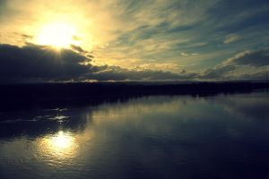 Lower Columbia River Sunset by designerfied