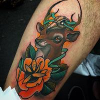 Deer skull n rose by WillemXSM