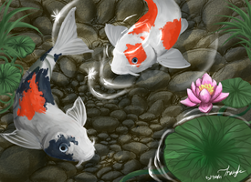 Koi Fish Pond by Shinju-Tsukuda