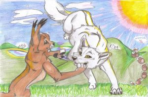 MYU AND KIBA by brownwhisker
