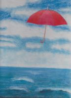 Ocean and Red Umbrella (Pastels) by HigeOkami