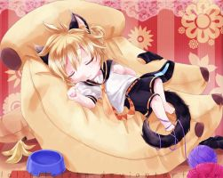 2nd Vocaloid Fan art-- Ssshh..  He's sleeping! by laliluleloha