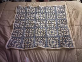 Blue and White Granny Square Baby Blanky by ivoryleopard