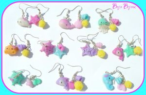 Kawaii Sea Creatures Earrings by Bojo-Bijoux