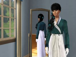 Sims 3 - Human Kitty Katswell in her kimono 1 by Magic-Kristina-KW