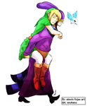 Ravio and Link - Piggyback Ride by asukasu