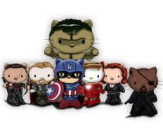 Avengers / Hello kitty deviation. by Crow-Dreamer