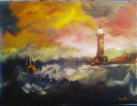 Remnant 1 - Lighthouse on a stormy sea by MikeConklinArtist