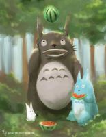 Totoro's Summer: Speed paint by Tekamza