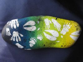 Animal tracks-Painted rock by Ashamawee