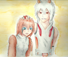 Obi and Acantha 2: Watercolor by Aki-rain