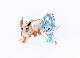 Flareon and Vaporeon by Camie01