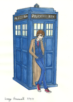 Ten and Tardis by aquabluejay