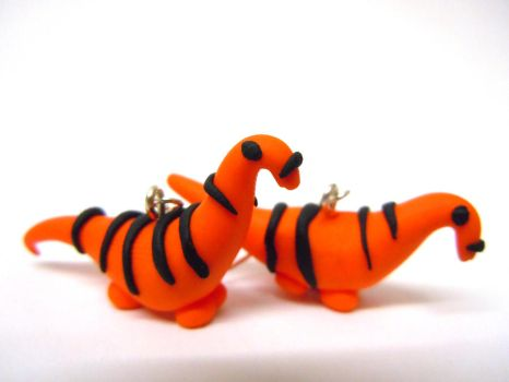 Tiger diplodicus earrings by Gillyflower-Designs