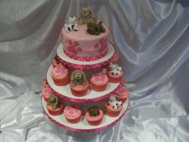 Puppy Cupcake tower by starry-design-studio