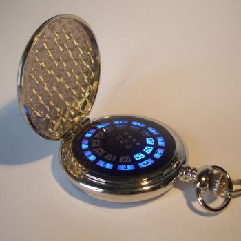 Silver pocket watch with blue LED display by ScatterbrainEmp