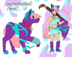 human and animal form of snowpetal by lunedragonfly