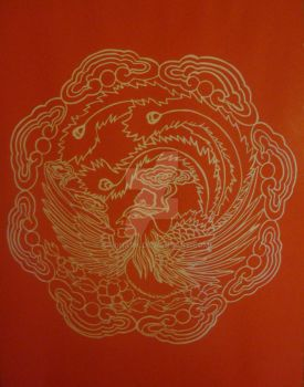 Chinese Paper-Cut Phoenix I by Lavinark