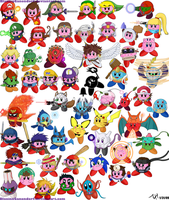 All Brawl + Melee Kirbies by BlazingGanondorf