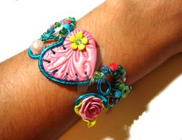 Wired clay Bracelet by colourful-blossom