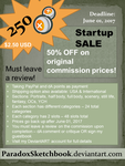 250 Points Commissions - Startup SALE - OPEN by ParadoxSketchbook