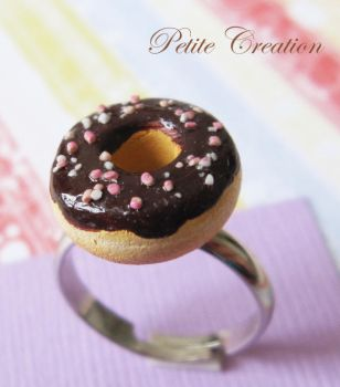 chocolate donut with sprinkles by PetiteCreation