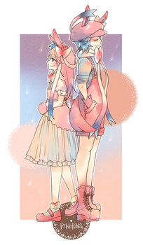Sylveon couple by Pinoring