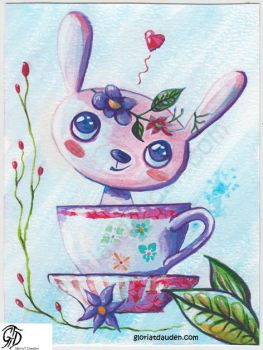 Teatime rabbit by Gloria-T-Dauden