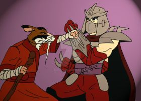 TMNT: Splinter VS Shredder by xero87