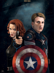 -Black Widow and Captain America- by obsceneblue