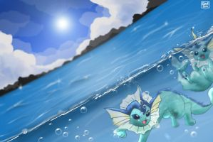 Vaporeon - Summer Sun by TheEthelWulf