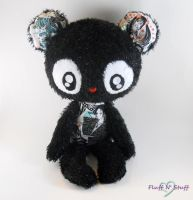 Kawaii Black Anime Bear by SailorMiniMuffin