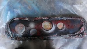spray paint art: space painting on a board by abtheartist