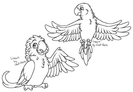 Parrot Linearts by Chat-Noire