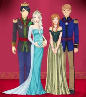 Danny Fenton and Elsa, Anna and Kristoff by LinART