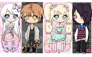 4 Chibi Adopts  CLOSED by KimmyPeaches