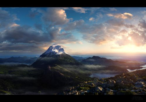 Mountain morning by glazyrin
