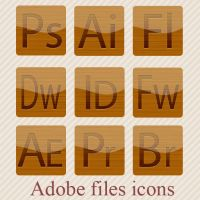 Wooden Adobe software icons by abdelhakimknis