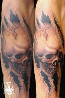 Skull with Rips by JakubNadrowski