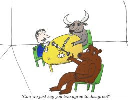 cartoon of Bull and Bear as Radio Talk Show guests by optionsclickblogart
