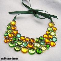 Green and Gold Rhinestone Bib by Natalie526