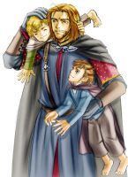 Boromir and Merry and Pippin by idolwild