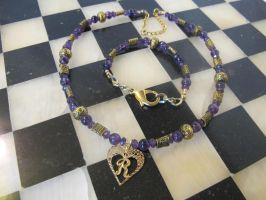 R Amethyst and Iolite Necklace and Bracelet by Windthin