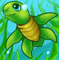 Cartoon Sea Turtle by Dragoart